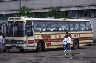 Former Green Line Leyland Leopard - Duple DL12,  Left-hand drive  MPL132W  in....Braşov,Romania as 31BC 487. June 1994