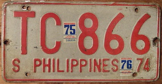 PHILIPPINES 1974-75-76 SERVICE VEHICLE or BUS plate
