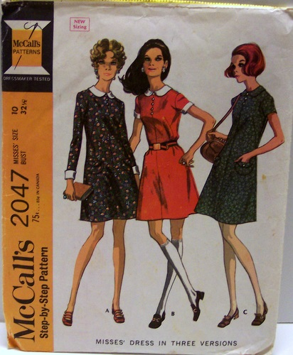 McCalls 2047 Vintage Sewing Pattern 4 Section Dress in Three Versions 60s Size 10 Bust 32 Waist 24 Hip 34