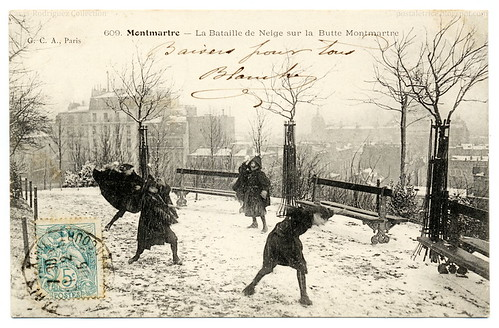 Snowball Fighting In Paris (1905) - 無料写真検索fotoq