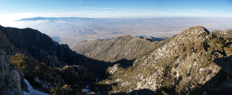 View north toward San Gorgonio Mountain, looking down into the Falls Creek Drainage
