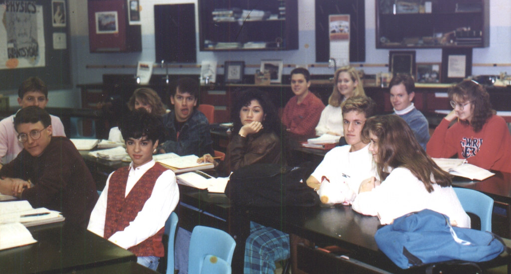 1991ish - Clint - Wooodbridge High - Mr. Linz's physics class - funny face - look at all the preppy people - 0454