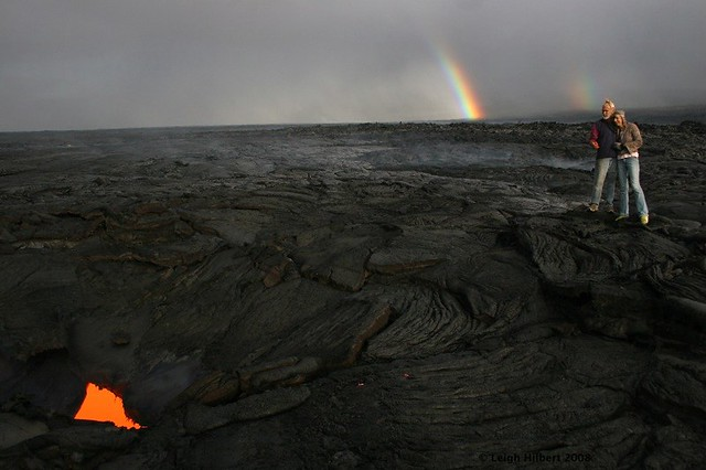 Underground Molten Lava River at the End of a Rainbow -- Pele's Pot-O-Gold