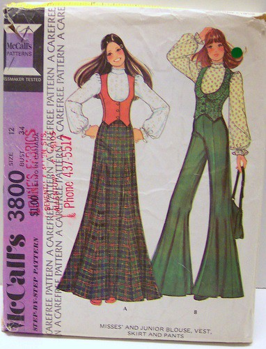 Vintage McCalls Sewing Pattern 3800 Boho Maxi Skirt Pants Fitted Low Vest and cute blouse Size 12 Bust 34 waist 26 Hip 36