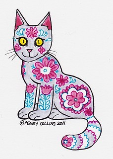 Grey Cat With Pink and Blue Flower Pattern