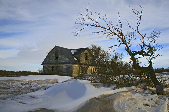 Заброшенный дом, снег, дерево