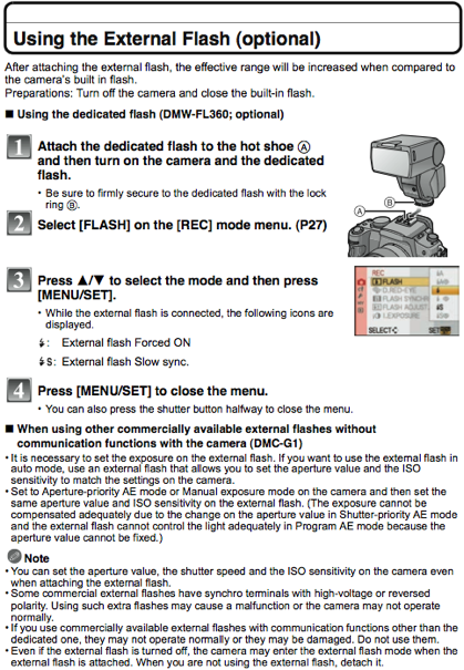 Using the Panasonic DMW-FL360 external flash, as documented on page 128 of the G1 manual