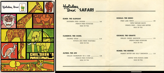 Holiday Inn Safari Childrens Menu - 1960's 1970's