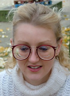 Laet - cute blonde girl with thick lens glasses