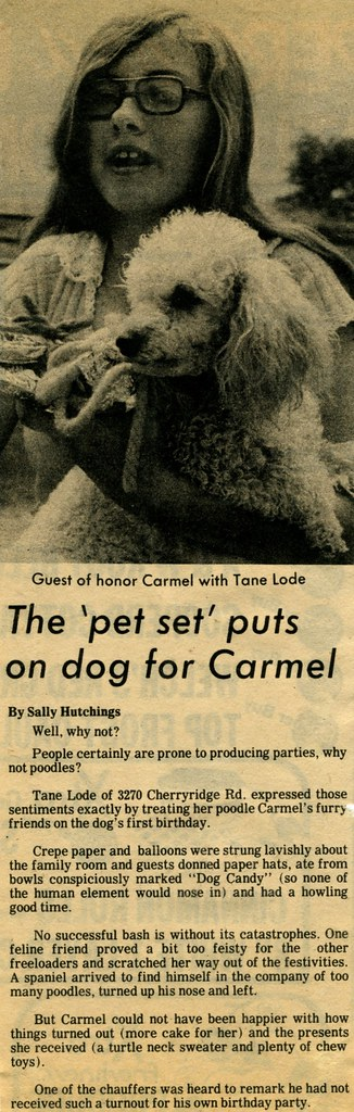 The Englewood Herald-Sentinel's article about Carmel's first birthday party - August 21, 1975