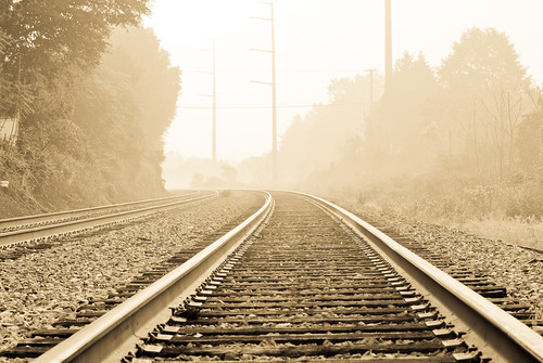 trees sun sunlight lines fog virginia vanishingpoint foggy rail railway trains dew rails manassas sunlit d300 converginglines nikkor7020028