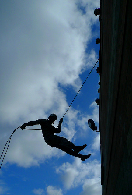 The University of Oregon ROTC Rappelling at the Eugene Fire Department Training Center I