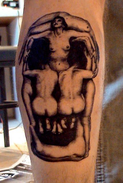 Dali's skull photo tattoo by Mirek vel Stotker