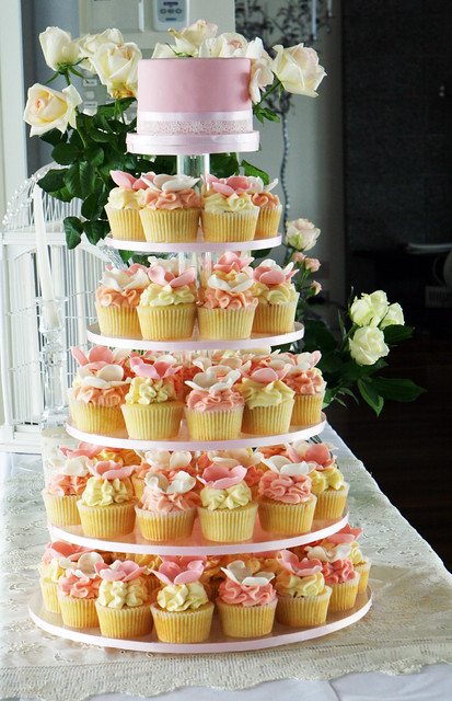 Delicate Blossoms wedding cupcake tower
