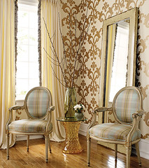 Modern wallpaper: Brown + blue decor + cream metallic damask + over-sized mirror