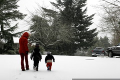 rachel walking her boys to school in the snow    MG …