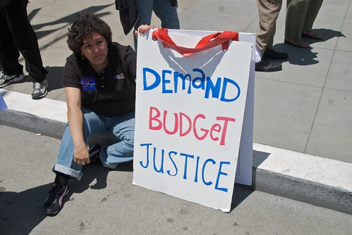 Demand budget justice - Protest of California health care budget cuts