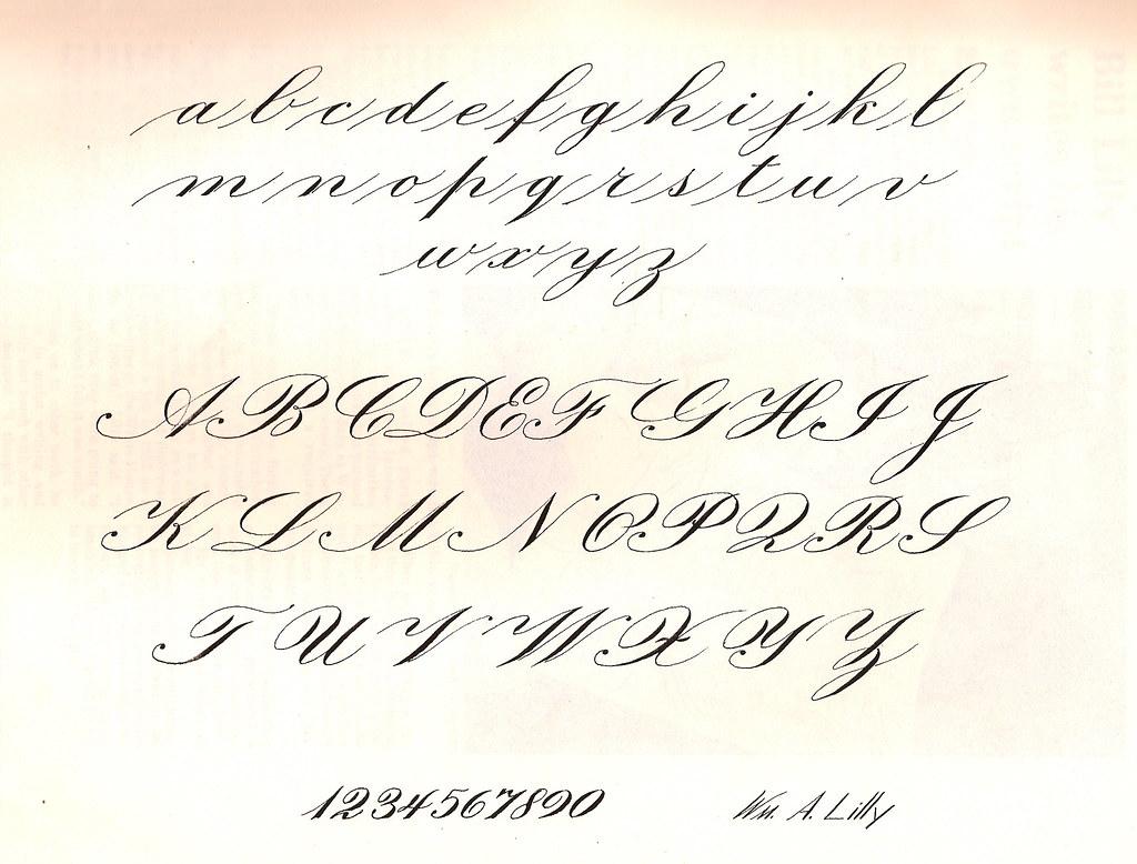 Calligraphy sample alphabet