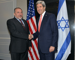 U.S. Secretary of State John Kerry meets with Israeli Foreign Minister Avigdor Lieberman on the sidelines of meetings on Libya and Ukraine in Rome, Italy, on March 6, 2014. [State Department photo/ Public Domain]