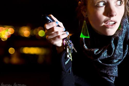 selfportrait me keys downtown bokeh safety nighttime stalker worried nightlife 365 scared reno protection defense canoneosdigitalrebelxt pepperspray 365days strobist sunpak544 february09 laurenrandolph laurenlemon