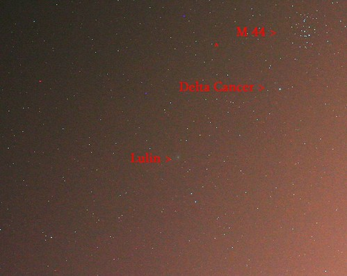 Comet Lulin visits Beehive Cluster on 3/4/09 (and closer next two nights)