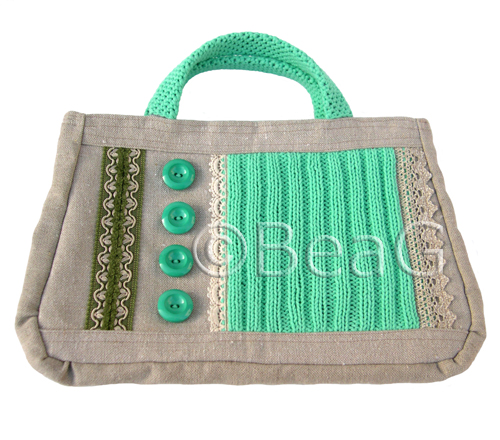 Handbag 'Green Stitches' (Handtas)