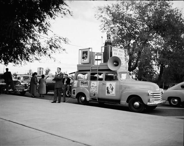 Miss Flame at Riverside Park, Fire Prevention Week, 1950