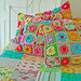 crochet pillows and quilted blanket... by rose hip...