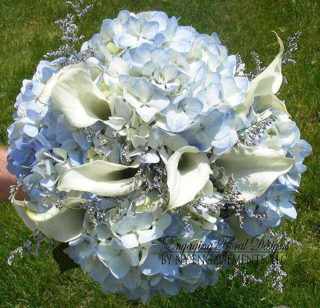 Bridal Bouquet With Calla Lilies And Hydrangeas : Bridal bouquet of blue hydrangeas white calla lilies and