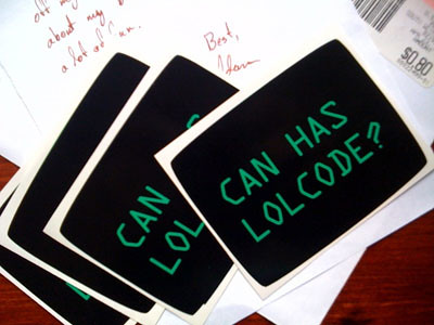 """Can Has Lolcode?"" stickers"
