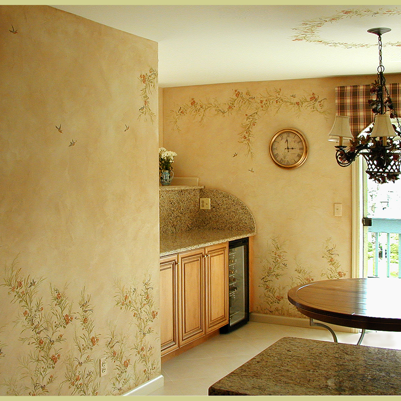 Painted Kitchen Ideas For Walls: Wall Stencils Birds And Flowers In The Kitchen. Beautiful