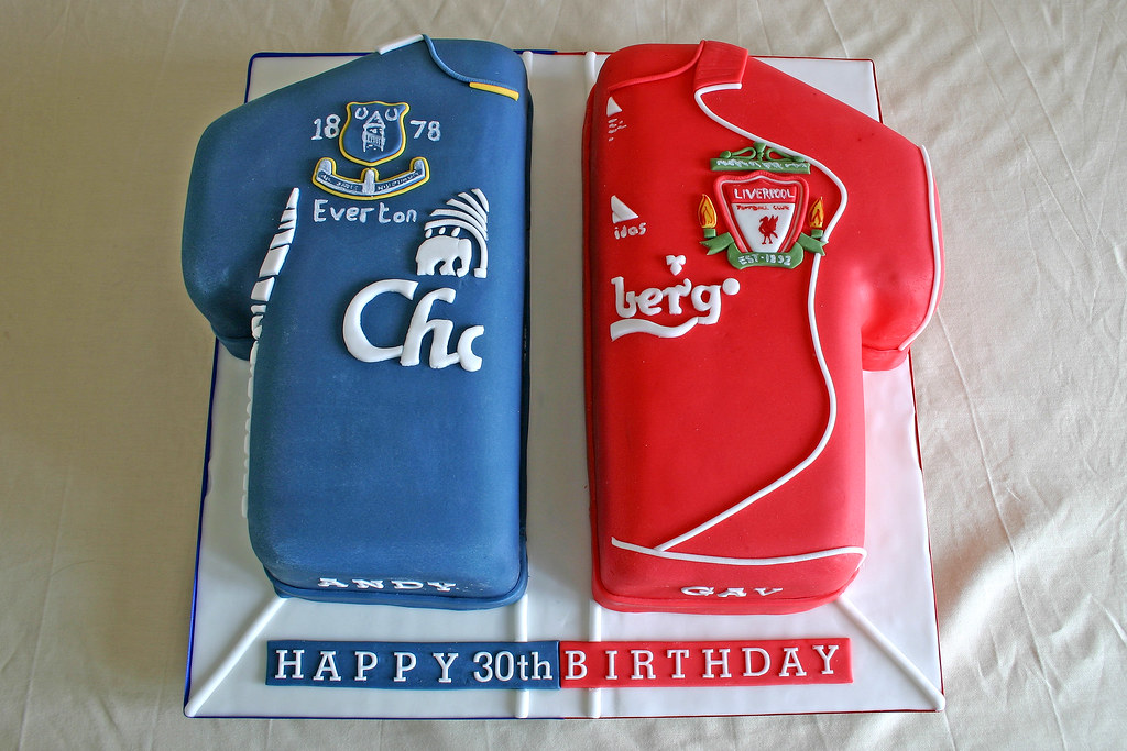 Birthday Cake 336 Liverpool Everton FC Football Shirts a