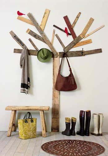 Birch tree coat rack