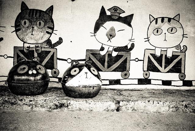木刻版画素材 猫