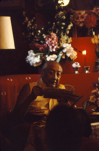HH Dilgo Khyentse Rinpoche reading a pecha, Sakya Ward St Dharma Center, Seattle, Washington, USA 1976 by Wonderlane