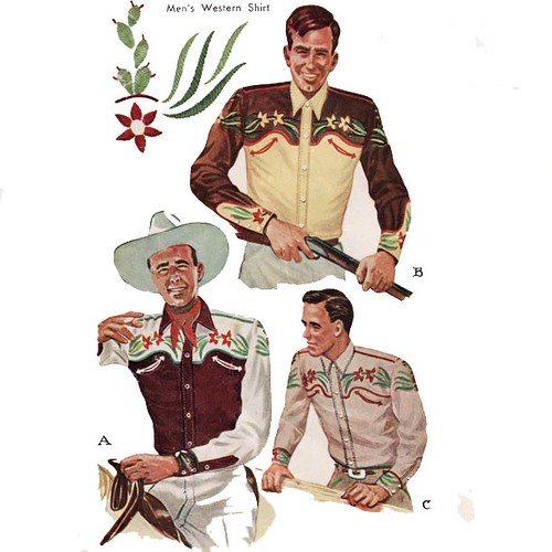 Very cool vintage 1940's men's westen shirt sewing pattern