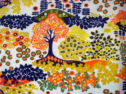 Vintage 60s 70s Hippie Trippy Trees Disco Nylon Knit Fabric
