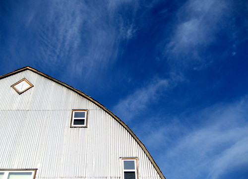 hayloft, blue sky