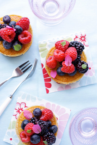 berry and coconut frangipane tarts