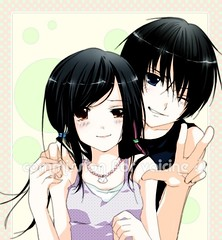 anime, hime cut, black hair, manga, mouth, cartoon, illustration, person, interaction,