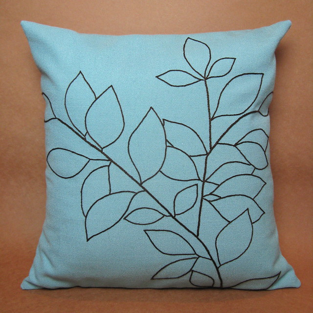 Embroidered leaves pillow flickr photo sharing