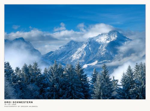 morning blue winter mountain austria cloudy threesisters vorarlberg übersaxen dreischwestern