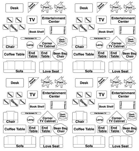 Printable room plan furniture templates for Scale room planner