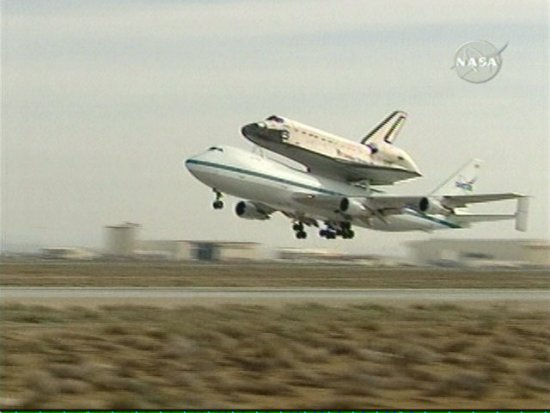 Space Shuttle Atlantis Rides Piggyback on Way Home (NASA ...