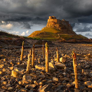 Lindisfarne Castle and posts at Sunset [Seen in Explore]