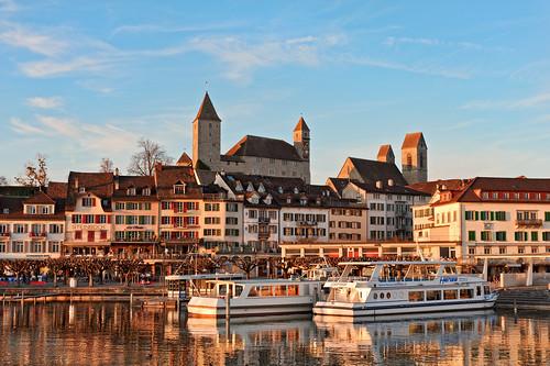 houses sunset sky lake building castle water architecture boats switzerland town nikon village ships zürich d700