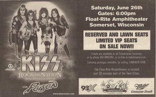 06/26/04 Kiss/Poison/Z02 @ FloatRite Park, Somerset, WI (Print Ad)
