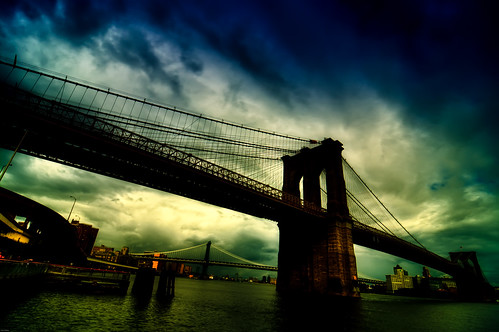 nyc newyorkcity bridge sky ny newyork brooklyn river geotagged nikon manhattan brooklynbridge manhattanbridge eastriver hdr d300 mudpig stevekelley