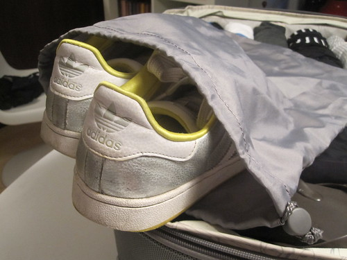 Use garment bag to put away shoes that may have dirty soleds.