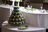 W9098 - black white green wedding cupcake tower
